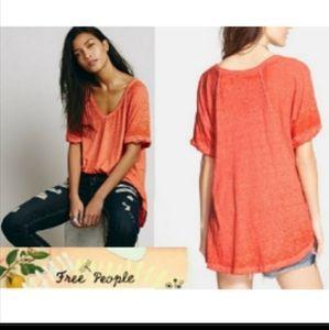 We the Free Orange V-neck Tshirt